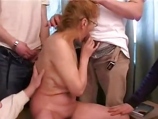 Russian mature and five boys - 2
