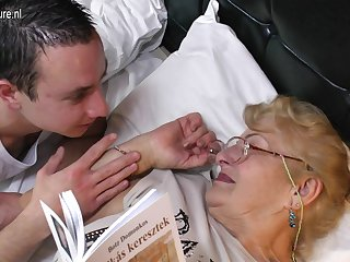 Very Old Grandmother Licking Young..