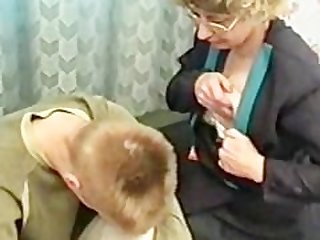 Russian MILF punishes naughty boy